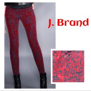 J Brand Red Brocad Jeans 29